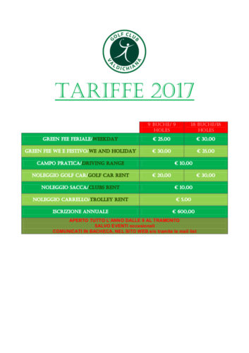 TARIFFE 2017 GOLF CLUB VALDICHIANAj